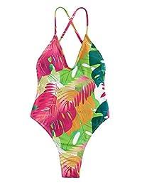 SOLY HUX Traje de baño Sexy de una Pieza con Espalda de Encaje y Push up para Mujer, Multicolor/fantasía (Leaves Print), L