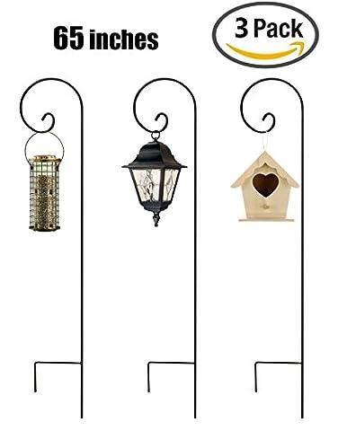 B&G 3 Shepherd Hooks 65 Inch Black Super Strong Rust Resistant Premium Metal Hook For Weddings Hanging Insect Trap Plant Baskets Solar Lights Lanterns Bird Feeders Mason Jars & Plant Hangers
