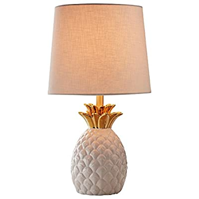 "Rivet Pineapple Ceramic Table Lamp, Modern, 18""H, White and Gold - This lovely lamp features a pineapple, the symbol of friendship, hospitality and welcome. With its textured white ceramic, gold-finished crown and white fabric shade, this lamp is sure to turn heads while offering a warm ambient light. 10""Diameter x 18""H Ceramic base, metal crown and socket with gold finish, fabric shade - lamps, bedroom-decor, bedroom - 41Z Z%2BlVa4L. SS400  -"