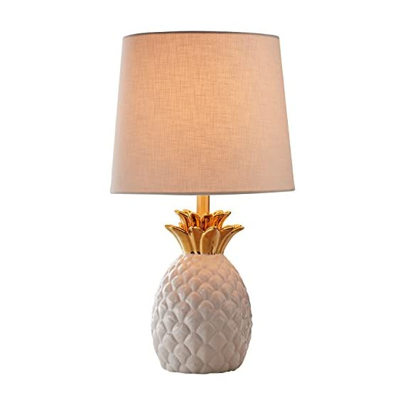 "Rivet Modern Pineapple Ceramic Table Lamp, 18""H, White and Gold - This lovely lamp features a pineapple, the symbol of friendship, hospitality and welcome. With its textured white ceramic, gold-finished crown and white fabric shade, this lamp is sure to turn heads while offering a warm ambient light. 10""Diameter x 18""H Ceramic base, metal crown and socket with gold finish, fabric shade - lamps, bedroom-decor, bedroom - 41Z Z%2BlVa4L. SS570  -"