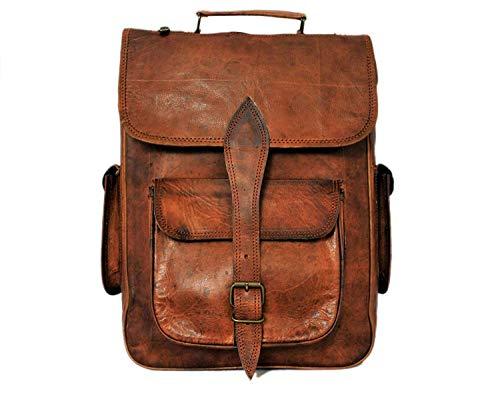 Unisex Vintage Leather Laptop Backpack Bag Travel Bags Retro Rucksack College School Bag for Men Women