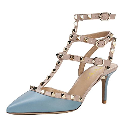 (Lutalica Women Studded Sandals Pointed Toe Ankle Straps Kitten Heel Shoes Blue Size 7 US)