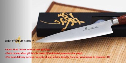 ZHEN Japanese VG-10 5-Piece 3-Layer Forged Steel Cutlery Knife Set, Pakka Wood by ZHEN (Image #13)