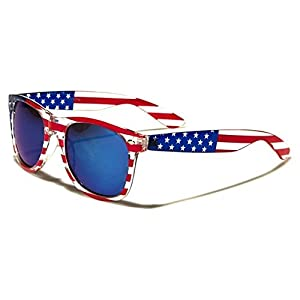 Sunglasses Classic 80's Vintage Style Design (USA Flag Revo Blue Lens)