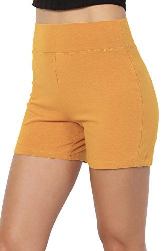 TheMogan Women's Cotton Span High Waist Under Short Yoga Leggings Mustard - Running Rise High Shorts