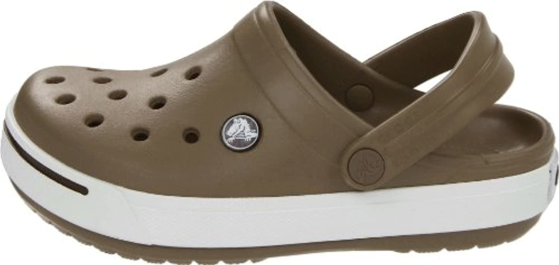 Crocs CROCBAND II KIDS KHAKI/ESPRESSO Brown White Kids Sandal Hoof