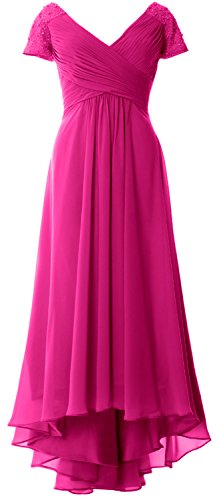 of Low V High Gown Neck MACloth Dress Sleeves Fuchsia Evening Formal Mother Cap Bride qwAUT0