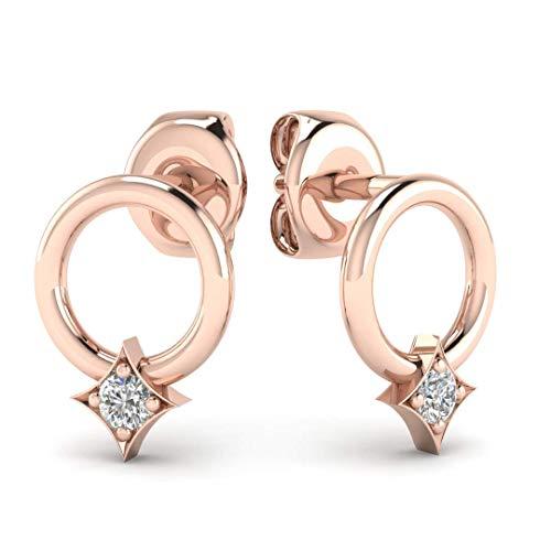 Diamond Circle Hoop Earrings - Minimalist Geometric Circle Earring Studs in Solid 14K Rose Gold, Real Diamonds, Butterfly Push Back -