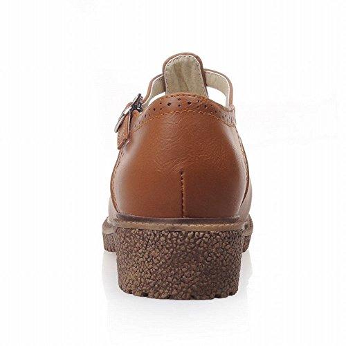 Mee Shoes Damen bequem retro-stil amtungsaktiv Schnalle Geschlossen dicker Absatz Niedrig runde Pumps Braun