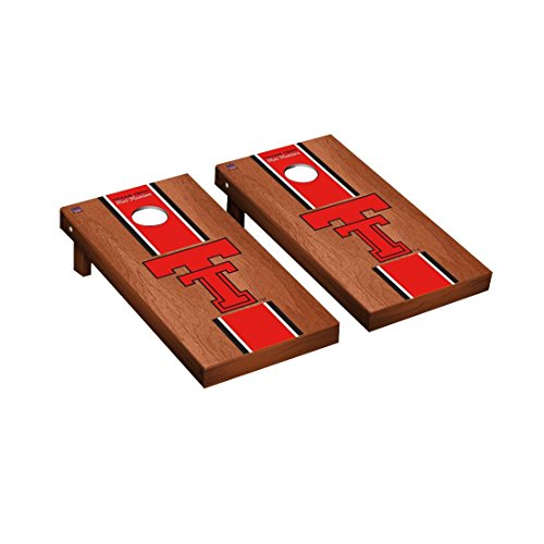 (College Vault Texas Tech Red Raiders Cornhole Game Set Rosewood Stained Stripe Version)
