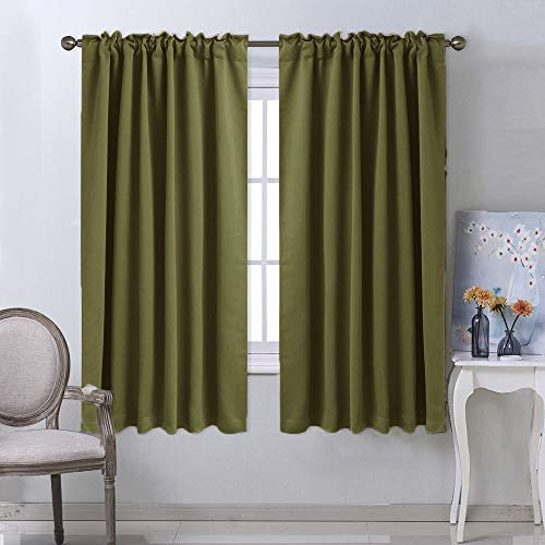 (NICETOWN Bedroom Curtains Blackout Draperies Panels - (Olive Green) 52