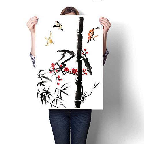 """Wall Art Canvas Prints View of Traditional China-Bamboo and Plum Bloom Print Paintings for Home Wall Office Decor 20""""x28"""""""