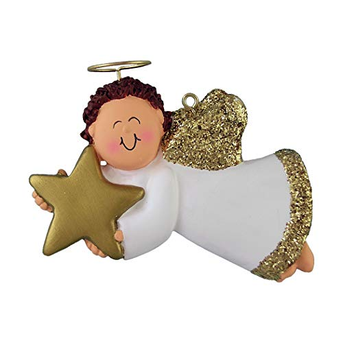 Personalized Angel with Star Christmas Tree Ornament 2019 - Brunette Male Religious Prayer Heaven Man Gold Dress Wings Boy Halo Memorial Remembrance Choir - Free Customization (Brown Hair)