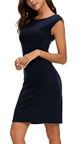 Urban CoCo Women's Sleeveless Bodycon Midi Dress Sheath Tank Dress (XL, Navy Blue)