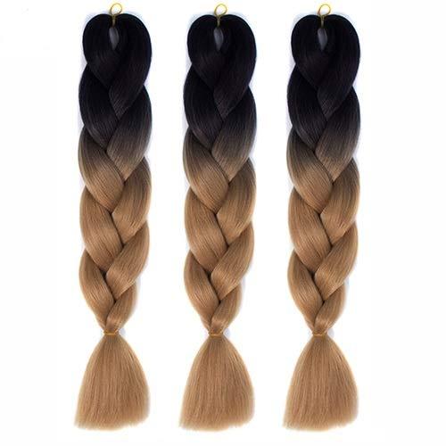 Ghfashion Extensiones de pelo largo sintetico trenzado de ganchillo de color puro para mujeres negras