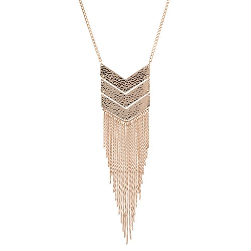 Lux Accessories Rose Goldtone Geo Tassel Fringe Fashion Jewelry Pendant Necklace ()