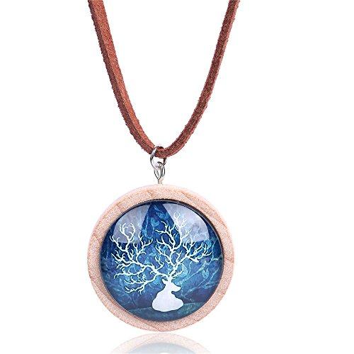 Reindeer Deer Deep Blue Sky Wood Sweater Necklace Handmade Jewelry Gift For Women Girl Kids