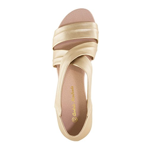 Andres Machado AM5267 Suede/Faux Leather Mini-Wedge Espadrilles.Large Sizes:UK 8 to 10.5/EU 42 to 45. Gold Faux Leather icLRLR1sf
