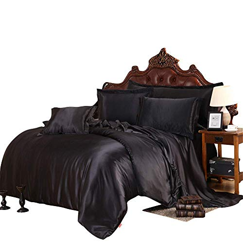 Best Bedding Ultra Soft Silky Satin 8 Piece (1 Flat Sheet + 1 Fitted Sheet with 19 inches Deep Pocket+ 1 Comforter + 1 Duvet Cover + 4 Pillow Cases) Comforter Set,Black, Queen