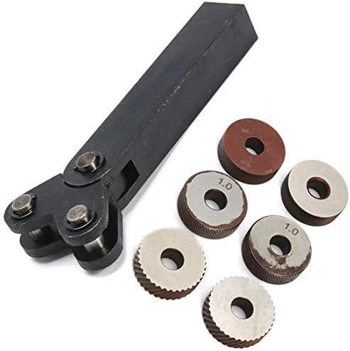 No Logo Rändelfräswerkzeuge 7pcs Stahl Dual-Rad-Rändel-Werkzeug-Set mit Diagonal Linear Rändelrad 1.2/2.5/3.0 mm Pitch Linear Pitch Knurl Set Lathe Cutter Heben für Metalldrehmaschine