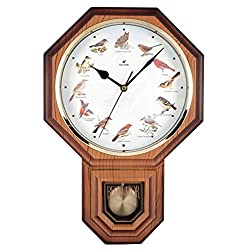 Justime Unique 12 North America Bird's Song Schoolhouse Pendulum Wall Clock Chimes Every Hour Melody Made in Taiwan (TCBD-PP0258-LW Light Wood Grain)