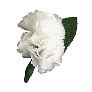 Boutonniere: Double white carnation long lasting artificial silk flower 28