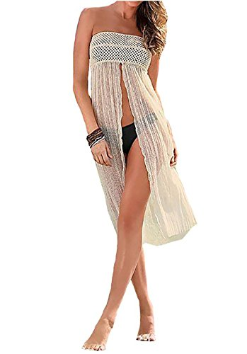 Santwo Women Swimwear Dress Lace Bikini Cover up for Beach Fishnet Crochet Skirt(model 1 white)
