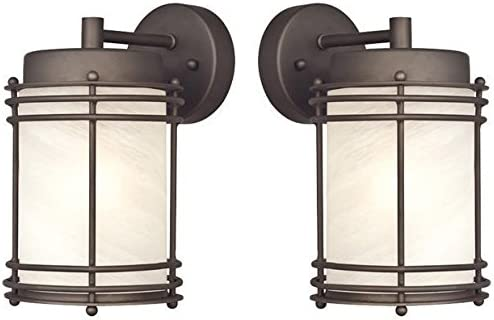 Westinghouse 6230700 Parksville One-Light Exterior Wall Lantern, Oil Rubbed Bronze Finish on Steel with White Alabaster Glass – 2 Pack