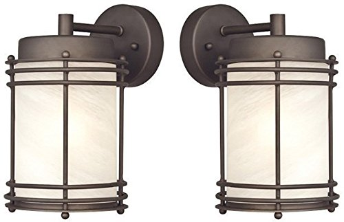 Alabaster Wall Plate - Westinghouse 6230700 Parksville One-Light Exterior Wall Lantern, Oil Rubbed Bronze Finish on Steel with White Alabaster Glass - 2 Pack