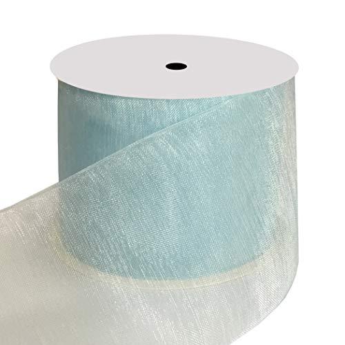 (DUOQU 2 inch Wide Shimmer Sheer Organza Ribbon 20 Yards Light)