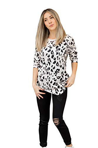 Tickled Teal Women's 3/4 Sleeve Leopard Top (Small, Leopard Print)