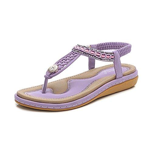 Meeshine Womens Summer Beach Flat Sandals Rhinestone Shiny Beads Slip On Flip Flops Thong Shoes(8 B(M) US,Purple 04) -