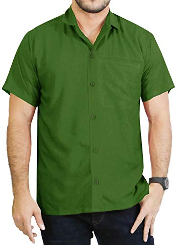 LA LEELA Rayon Beach Luau Vacation Dress Shirt Olive Green 2XL |Chest 54