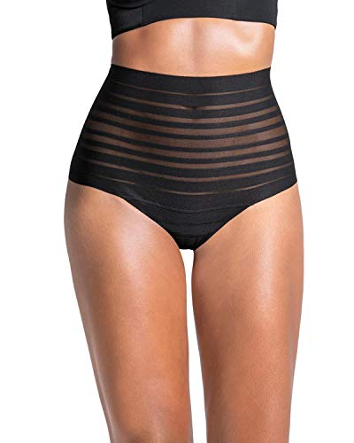 Leonisa Women's Sexy High Waist Rear Enhancing Thong Panty Black