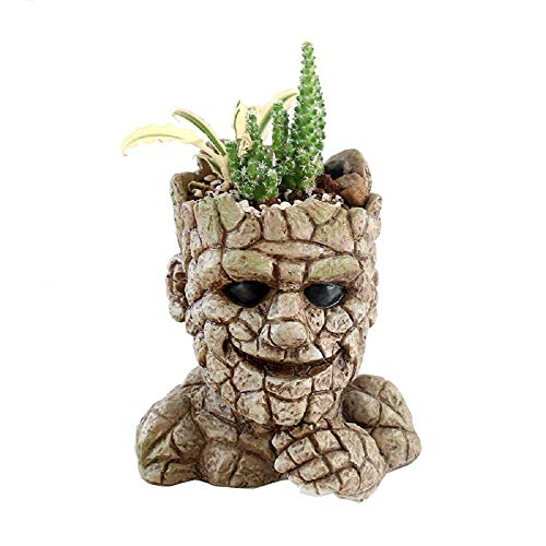 Youfui Garden Plant Pot or Pen Holder Resin Stone Man Flower Pot with Drainage Hole Idea for Gardener 5.5 inch Large Planting Space (Ideas For Planting Patio Pot)