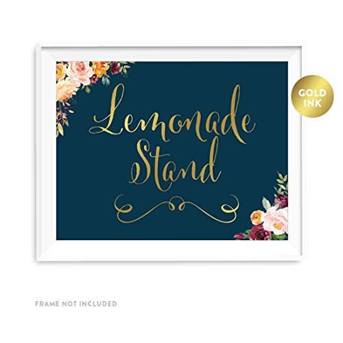 Andaz Press Wedding Party Signs, Navy Blue Burgundy Florals with Metallic Gold Ink, 8.5x11-inch, Lemonade Stand Reception Dessert Table Sign, 1-Pack, Colored Fall Autumn Decorations]()