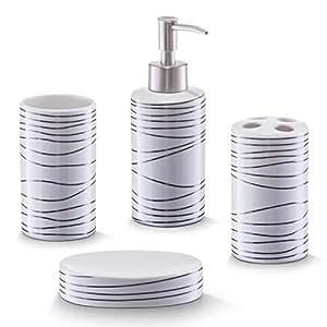 Zeller 18250 - Juego de accesorios para baño, 4 piezas, color blanco