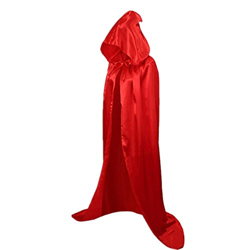 Devil Costumes Women (Starkma Unisex Full Length Hooded Cape Costume Cloak Devil Witch Wizard Magician Cosplay Cape (150cm ( suitable height 170cm), Red))
