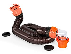 Camco RhinoFLEX 15ft RV Sewer Hose Kit, Includes Swivel Fitting and Translucent Elbow with 4-In-1 Dump Station Fitting, Storage Caps Included