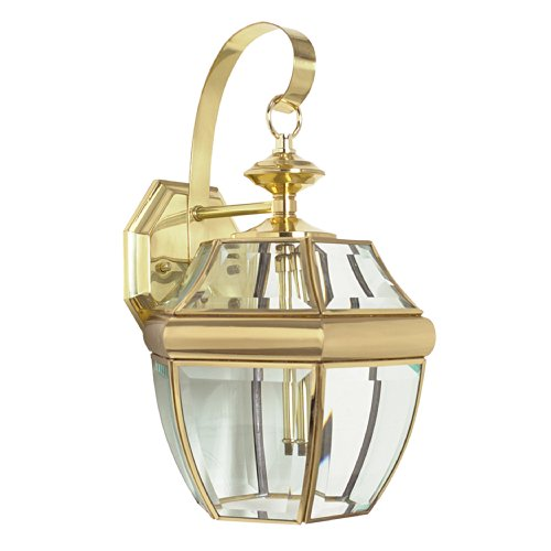 Sunset Lighting F7922-10 Outdoor Wall Sconce with Clear Beveled Glass, Polished Brass Finish