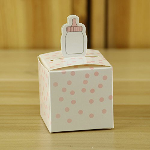 Tongshi Pink Dot Baby Shower Party Favor Boxes Candy Boxes with Baby Bottle Design, Set of 50