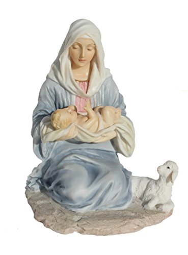 6.13 Inch Mary Kneeling Holding Baby Jesus Figurine – Light Color