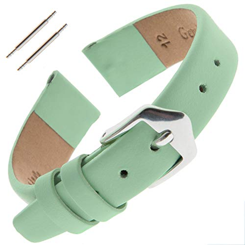 Gilden Ladies 10-14mm Classic Calfskin Fashion Color Flat Leather Watch Band F60 (12 Millimeter end Width, Sea Foam Green, Silver-Tone Buckle) ()