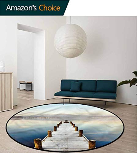 RUGSMAT Seascape Modern Machine Washable Round Bath Mat,Distant Hills Calm Scenery Design Non-Slip Fabric Round Rugs for Study Room Round-59 ()