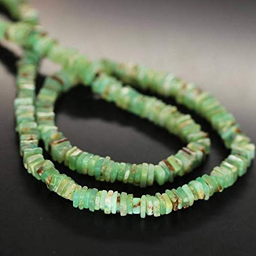 GemAbyss Beads Gemstone Green Chrysoprase Smooth Heishi Cube Square Gemstone Craft Loose Beads Strand 16 Inch Long 4.5mm 5mm Code-MVG-27305