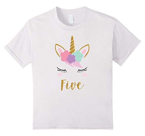 Kids Girl 5th Birthday Outfit Unicorn Fifth Shirt 6 White