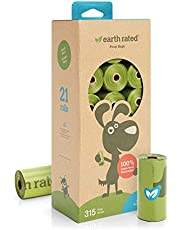 Earth Rated Eco-friendly Dog Poop Bags, 315 Extra Thick and Strong Poop Bags for Dogs, Guaranteed Leak-proof, Unscented, 21 Rolls, 15 Dog Bags Per Roll, Each Dog Poop Bag Measures 9 x 13 Inches