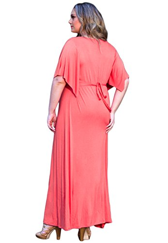 Sealed with a Kiss Designs Plus Size Dress - Joan Maxi Dress 1X Hot Coral