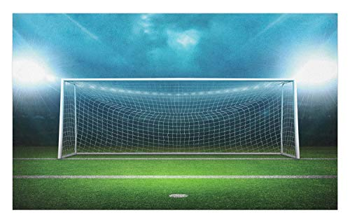 Ambesonne Soccer Doormat, Soccer Goal Post Sports Area Winner Loser Line Floodlit Best Team Finals Game Theme, Decorative Polyester Floor Mat with Non-Skid Backing, 30 W X 18 L Inches, Green Blue