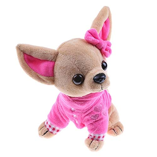 PAPPET Chihuahua Stuffed Animal Chihuahua Plush Realistic Cute Kids Toy Lifelike Animal Doll for Children Birthday Christmas Valentines Gifts - 6.7 inch (Rose)